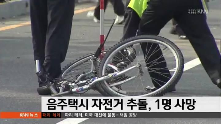 음주택시 자전거 추돌, 1명 사망