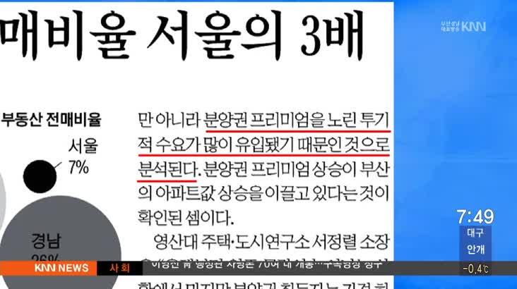 2 월 27일 아침신문 읽기-국제신문-부산지역 아파트 분양권 전매비율 서울의 3배
