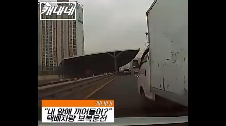 [캐내네]끼어들기에 화가나 보복운전한 택배차량
