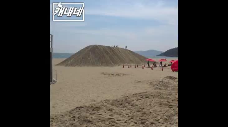 [캐내네]해운대 모래 슬라이드