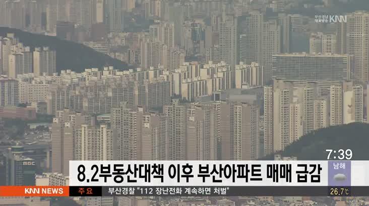 8.2부동산대책 이후 부산아파트 매매 급감