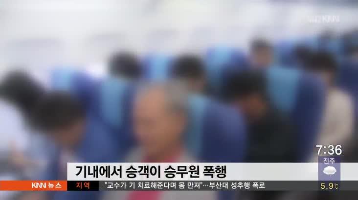 """""""손등 긁었다"""" 기내서 승객이 승무원 폭행"""