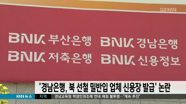 """""""경남은행, 북 선철 밀반입업체 신용장 발급""""주장"""