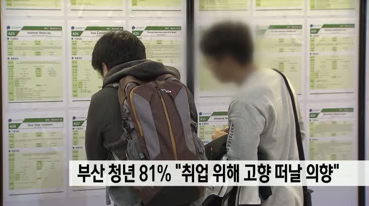 """부산 청년 81%, """"취업 위해 고향 떠나겠다"""""""