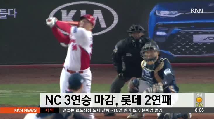NC 3연승 마감, 롯데 2연패