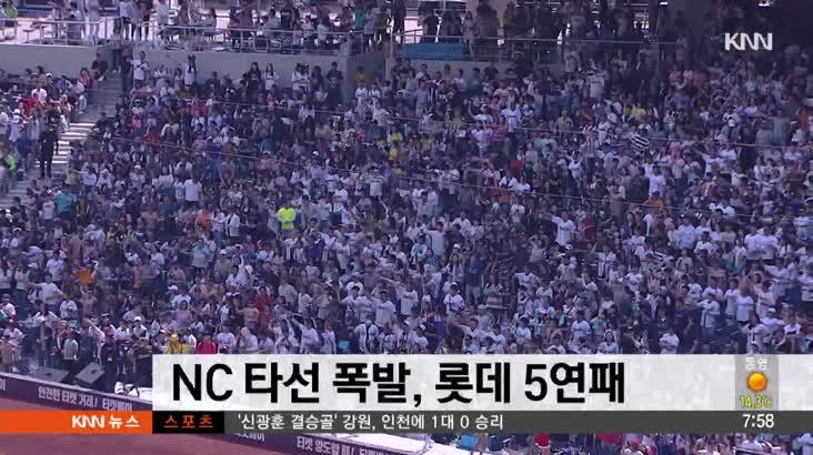 NC 타선폭발, 롯데 5연패