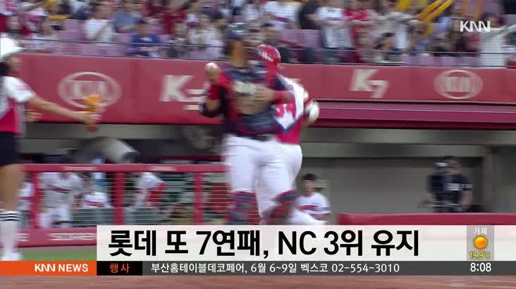 롯데 또 7연패, NC 3위 유지