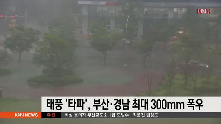 태풍 타파 영향, 부산*경남 최대 300미리 폭우