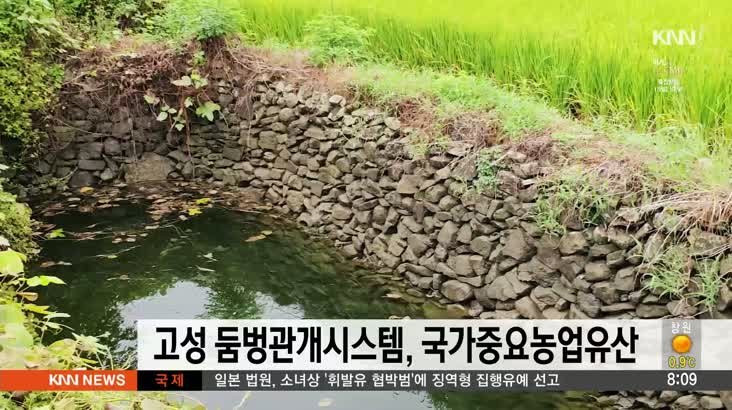 고성 둠벙관개시스템, 국가중요농업유산 선정(