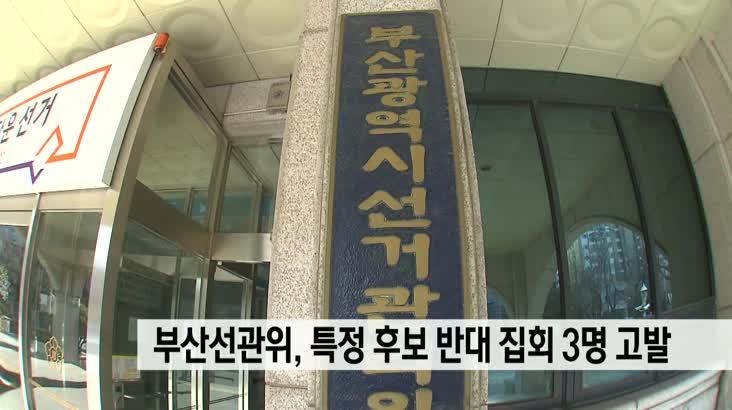 부산선관위,특정 후보 반대 집회 주도 3명 고발