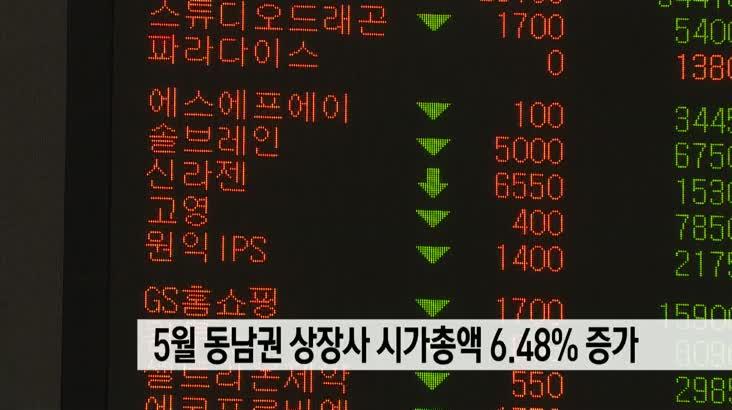 5월 동남권 상장사 시가총액 전달비해 6.48%증가