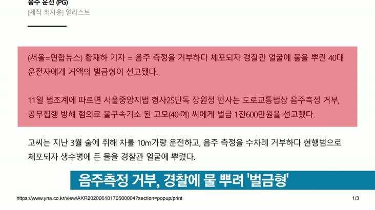 [뉴스클릭] 음주측정 거부, 경찰에 물 뿌려 '벌금형'