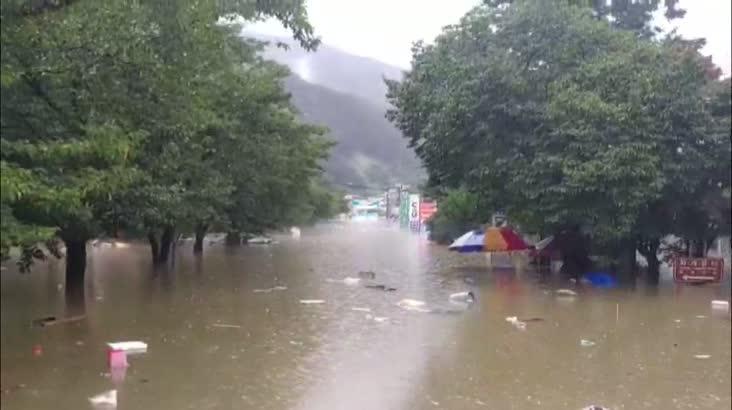 폭우에 섬진강 홍수, 화개장터 침수