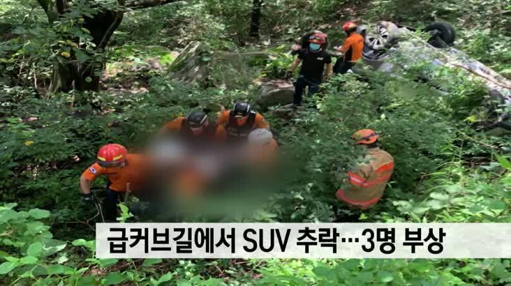 급커브길에서 SUV 추락…3명 부상