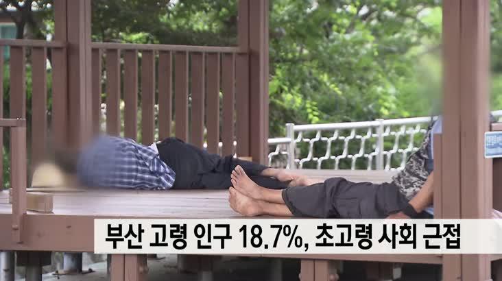 부산 고령 인구 18.7%, 초고령 사회 근접